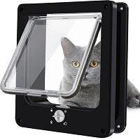 Pet Select Kattenluik Zwart met Tunnel – Vierwegsluiting – Maat L